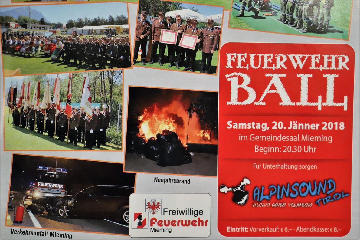 """Feuerwehrball 2018 im Gemeindesaal – Mit """"Alpinsound Tirol"""", Foto: Mieming.online"""
